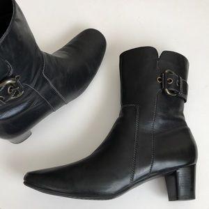 Ecco heeled leather booties zip & buckle Detail